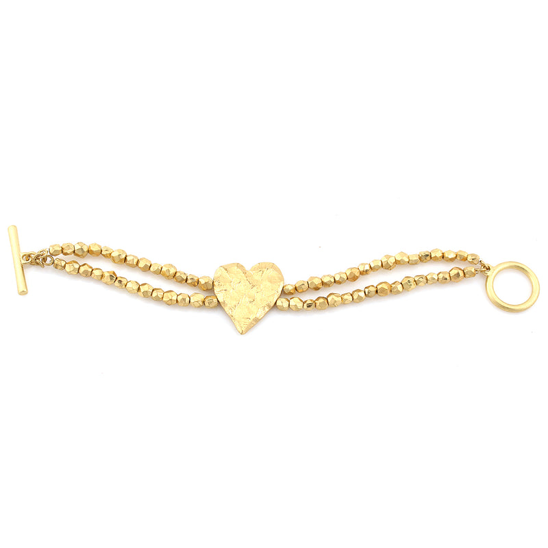 Gold-Tone Metal Heart Wrap Around Bracelets