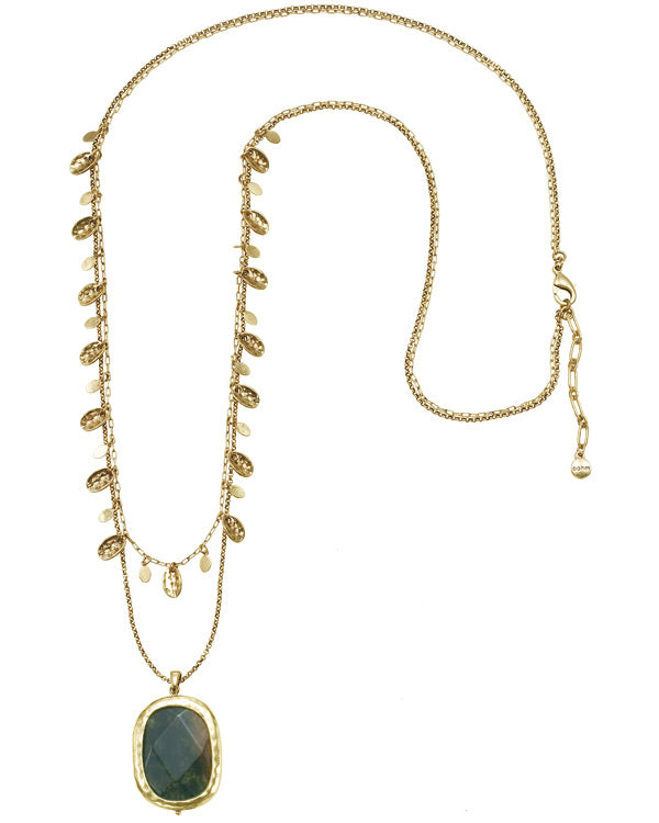 Gold-Tone Metal 2 Layered Charm Green Stone Necklace