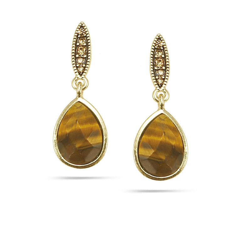 Gold-Tone Metal Tiger'S Eye And Gold Crystal Tear Drop Earrings