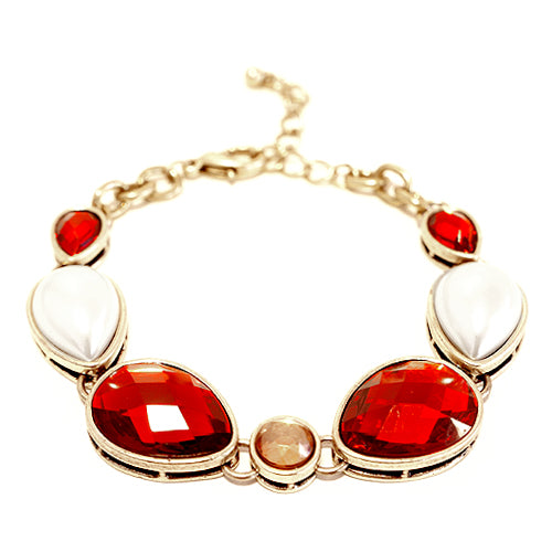 G/RED/CREM Indian Style Shiny Red- Gold Bracelet
