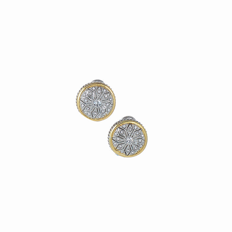 Open round stone earring