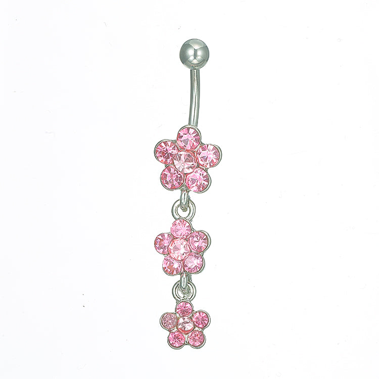 FW-BJ2-S/P Silver pink flower body jewelry