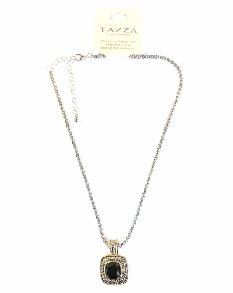 Two Tone Cable Necklace with Jet Center Stone