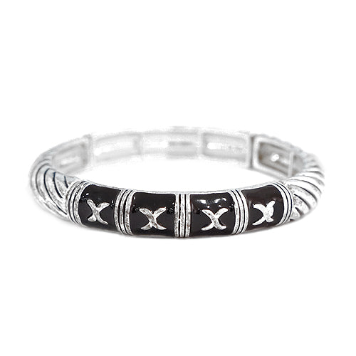 "Black Enamel with Silver ""X"" Stretch Bracelet"