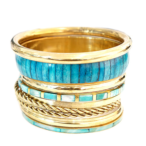 Turquoise Wood with Gold Bangles Set of 10pcs