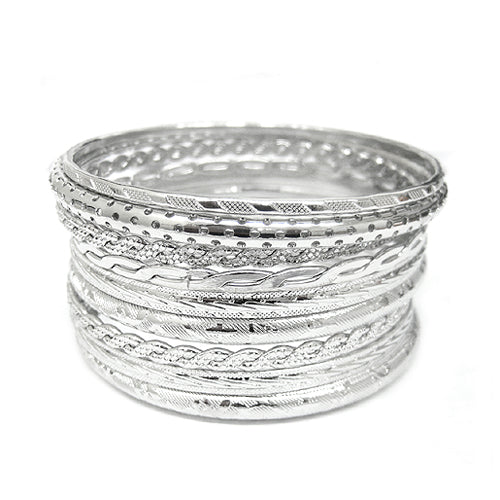 RHODIUM BANGLE SET
