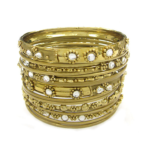 GOLD CLEAR RHINESTONE SET OF 18 PCS BANGLES