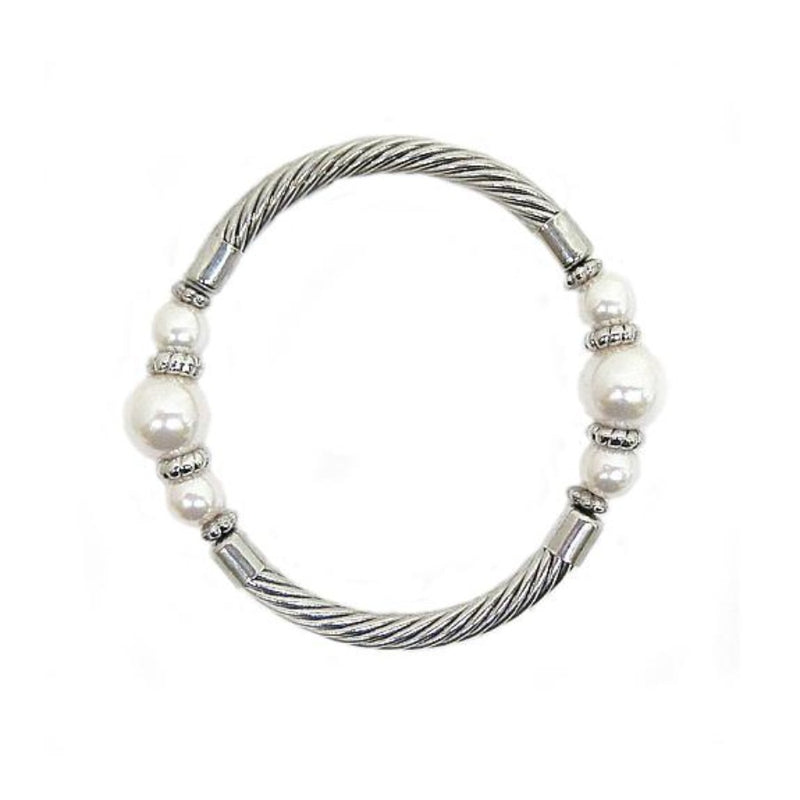 RHODIUM-CREAM PEARL CABLE STRETCH BRACELET