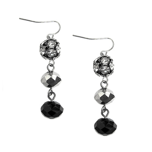 HEMATITE MULTI COLOT BLACK AND SILVER FIREBALL ROCK CANDY MIXED DANGLE EARRINGS