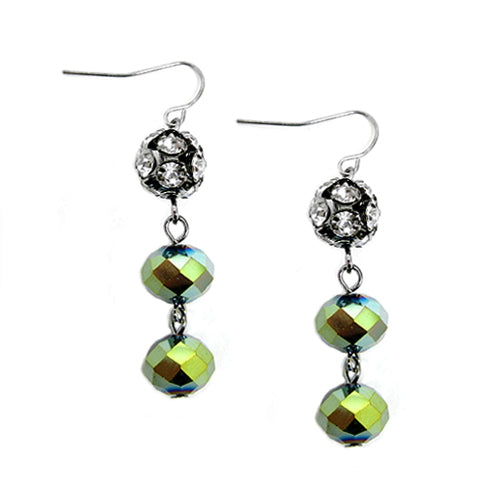 GOLD-OLIVE FIREBALL WITH OLIVE ROCK CANDY MIXED HEMATITE DANGLE EARRINGS