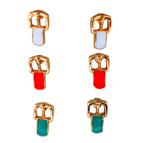 White Red Turquoise Gold Belt Metal Earrings Set Of 3Pcs