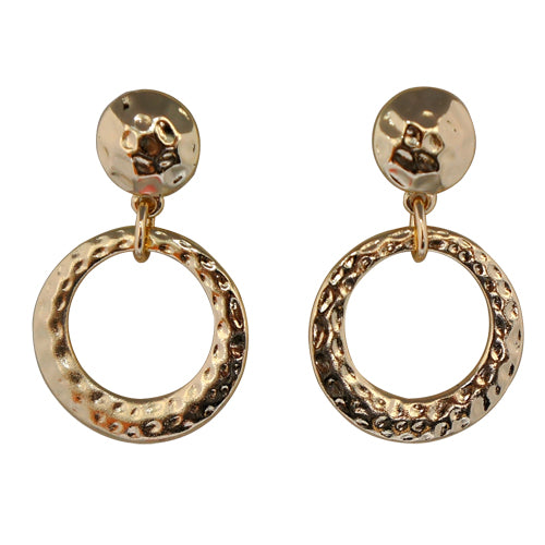 Gold Double Round Metal Earrings