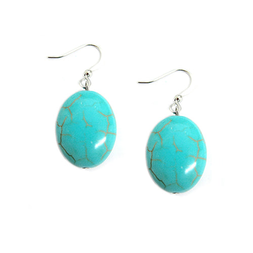 RHODIUM TURQUOISE EGG SHAPED SILVER EARRINGS