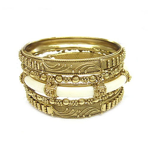 GOLD IVORY METAL WITH RESIN BANGLES SET OF 5 PCS