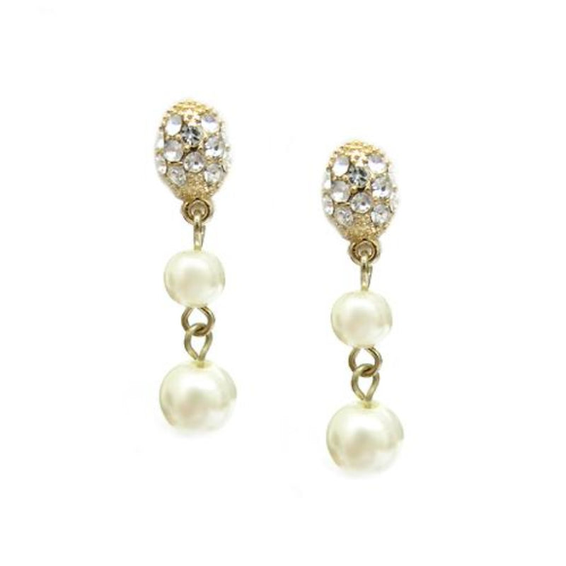 GOLD CREAM PEARL DANGLE EARRINGS