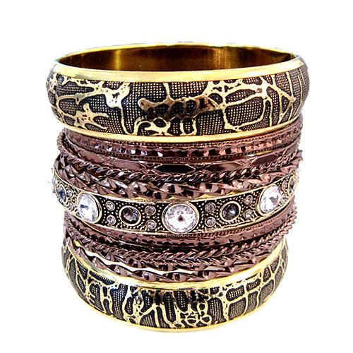 2 TONE TEXTURED MULTIPLE BANGLE SET