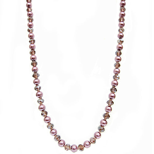 AMETHYST PEARL & CRYSTAL BEAD NECKLACE