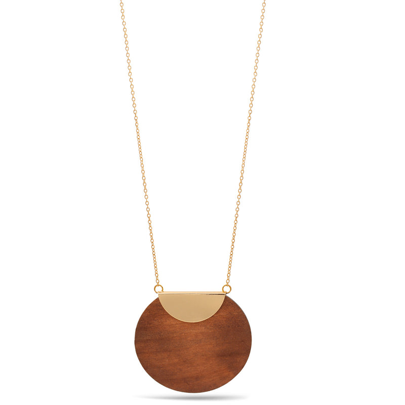 Gold Natural Wood Pendant Adjustable Length Long Chain Necklace