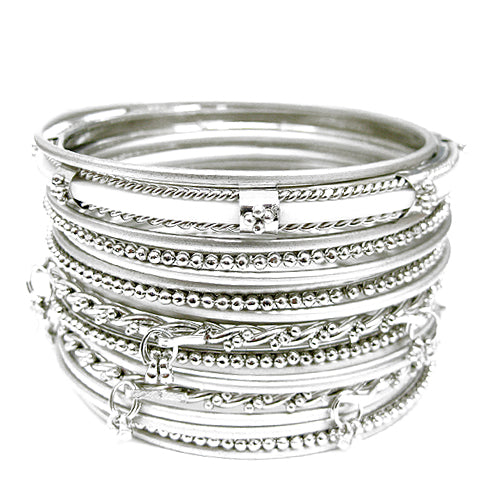 SILVER MULTI COLOR BANGLE SET