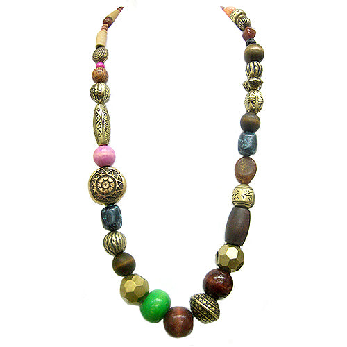 Multi Color Wooded Long Necklace