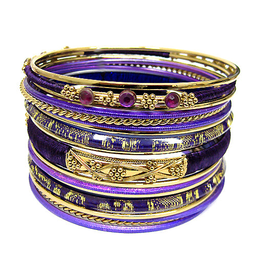 GOLD-PURPLE BANGLE SET