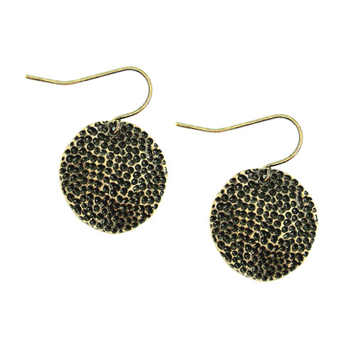 Hammered Metal Circle Earrings
