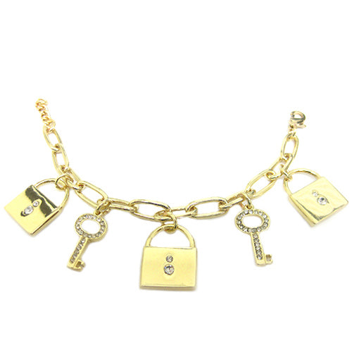 GOLD LOCK AND KEY CHARM BRACELET