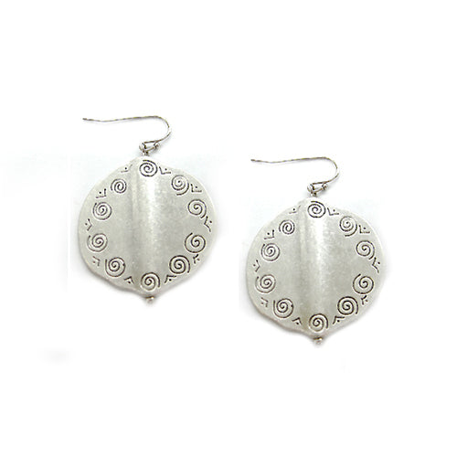 SILVER Scroll Engraved Disc Earring