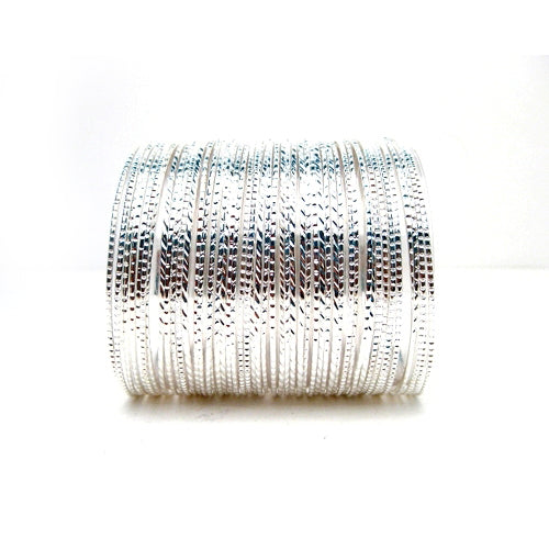 SILVER Set of 50 PCS Metal Bangles