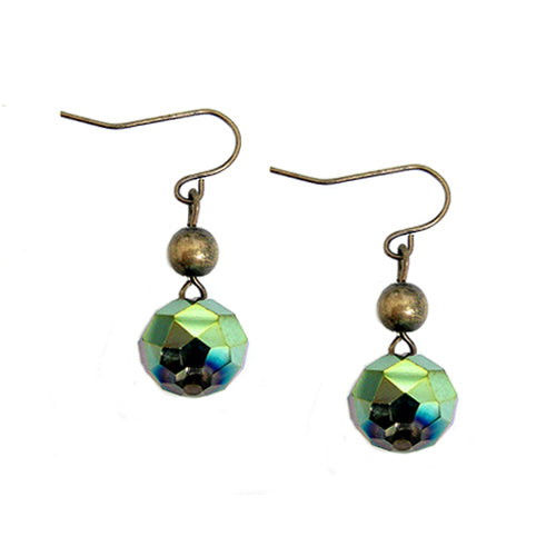GOLD-OLIVE SPARKLING OLIVE ROCK CANDY GOLD DANGLE EARRINGS