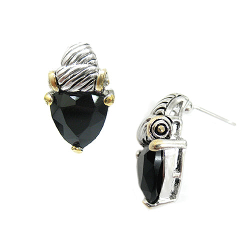 BLACK Triangle Glass Crystal Two-Tone Cable Earrings