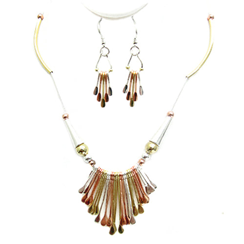 TRITONE INTRICATE TRIBAL DESIGN NECKLACE AND EARRINGS SET