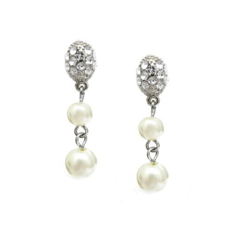 Polish yourself with selection of our classical earrings! Two different size of faux pearl drops dangle from clear stoned stud earrings. The earring is about 1.25 inches long and the size of the pearl is 6mm and 8mm in diameter.