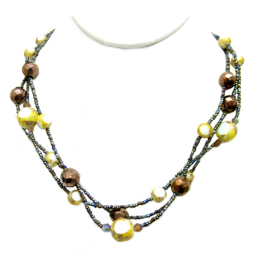 Rainbow Colorful Glass Three-Strand Vintage Gold Necklace