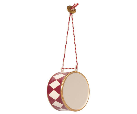 Metal ornament, Large drum - Red