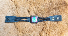 Load image into Gallery viewer, Psychedelic Skull Indian on Black Twisted Leather Bracelet