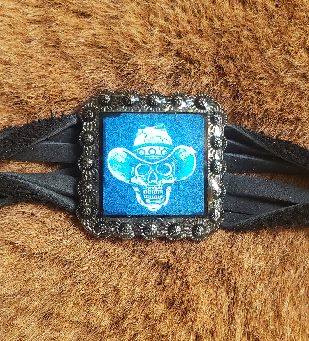 Psychedelic Skull Cowboy on Black Twisted Leather Bracelet