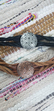 Load image into Gallery viewer, Heavy Metal Celtic Trinity Knot on Leather Twisted Bracelet