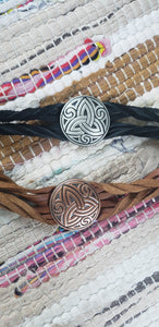 Heavy Metal Celtic Trinity Knot on Leather Twisted Bracelet