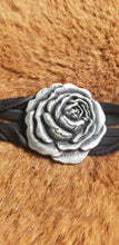 Load image into Gallery viewer, Heavy Metal Silver Rose on Black Leather Twisted Bracelet