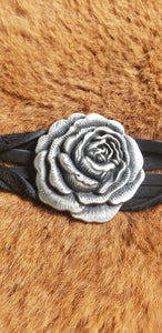 Heavy Metal Silver Rose on Black Leather Twisted Bracelet