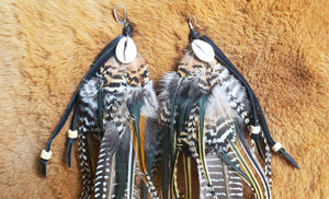 Large Boho Cowry Shell Feather Earrings