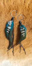 Load image into Gallery viewer, Lightweight Black & Turquoise Feather Silver Hoop Earrings