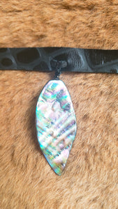 Abalone Shell on Genuine Black Leather Choker