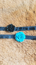 Load image into Gallery viewer, Black Rose Pendant on Genuine Black Leather Choker