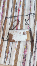 Load image into Gallery viewer, Tan & White Cowhide Leather Handbag Purse with Silver Trinity Knot Embellishment