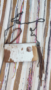 Tan & White Cowhide Leather Handbag Purse with Silver Trinity Knot Embellishment