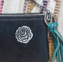 Load image into Gallery viewer, Black & White Cowhide Leather Handbag Purse with Rose Embellishment