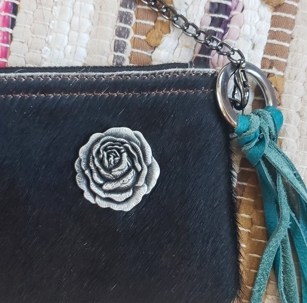 Black & White Cowhide Leather Handbag Purse with Rose Embellishment