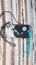 Load image into Gallery viewer, Black & White Cowhide Leather Handbag Purse with Daisy Embellishment